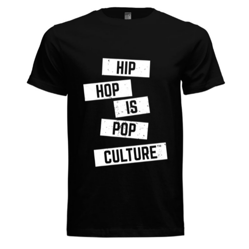 Hip Hop Is Pop Culture - Textured Logo Tee (Black/White)