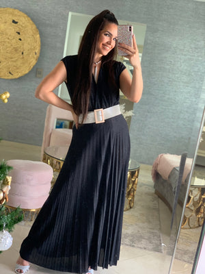 Glitter pleated maxi skirt