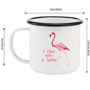 Flamingo Enamel Mugs - I Like You a Latte