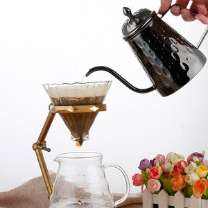 Rose Gold Or Black Pour-Over Gooseneck Kettle Coffee Pot & Lid