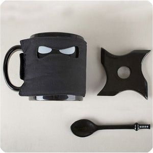 Black Ninja with Mask, Sword and Shuriken - 4 pcs