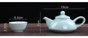 Chinese Celadon Tea Sets - 7 Pieces