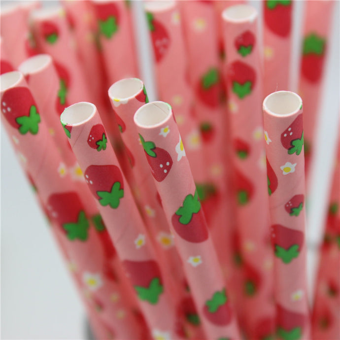 Strawberry Paper Straws 25pcs/lot