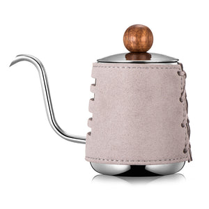 Elegant Pour-Over Coffee Pot with Extra Narrowed Gooseneck Spout and Synthetic Leather Wrapping | Your Magic Mug
