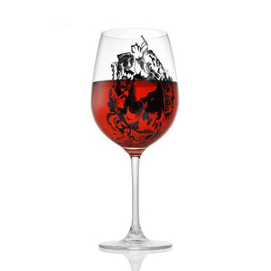 Skull Painted on Wine Glass | Your Magic Mug