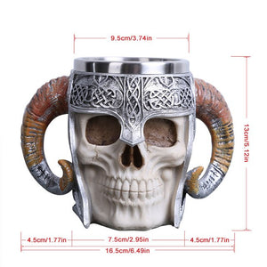 Skull with Viking Warrior Helmet Mug  | Your Magic Mug