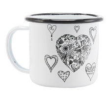 Enamel Mugs - Animals & Plants Collection Black Hearts | Your Magic Mug
