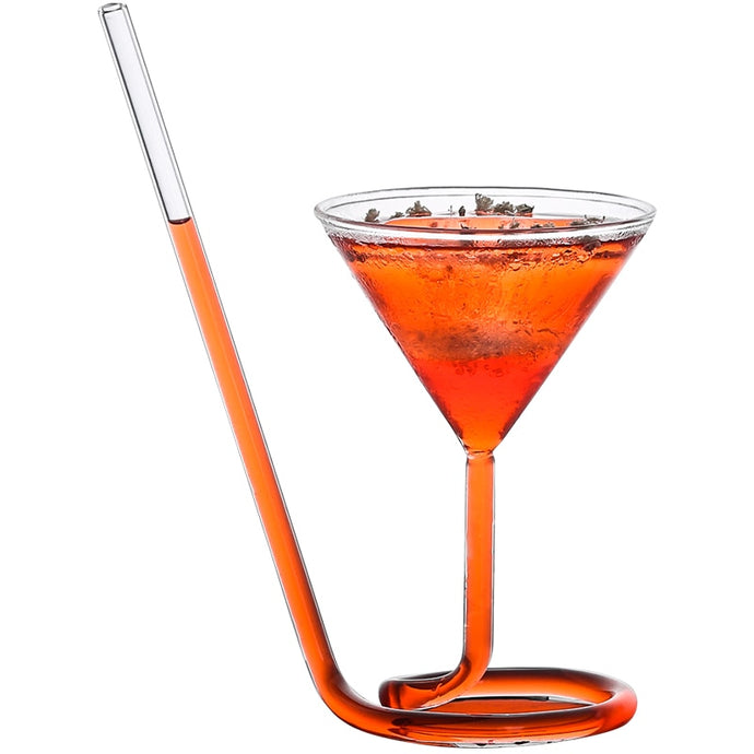 Creative Martini Glass with Straw - Set of 4 | Your Magic Mug
