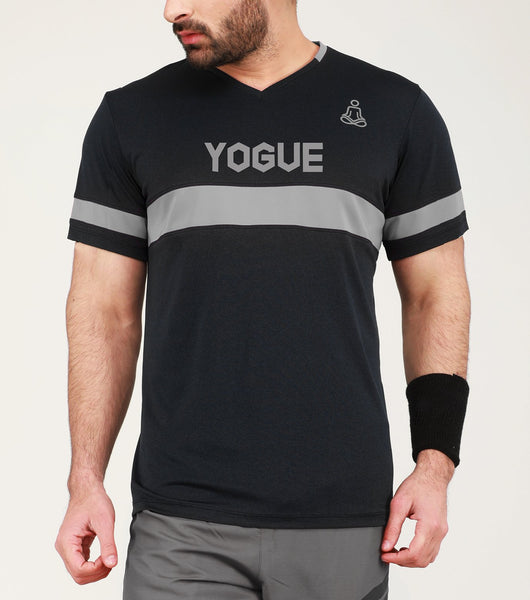 Black & Grey Stripe V-Neck T-Shirt