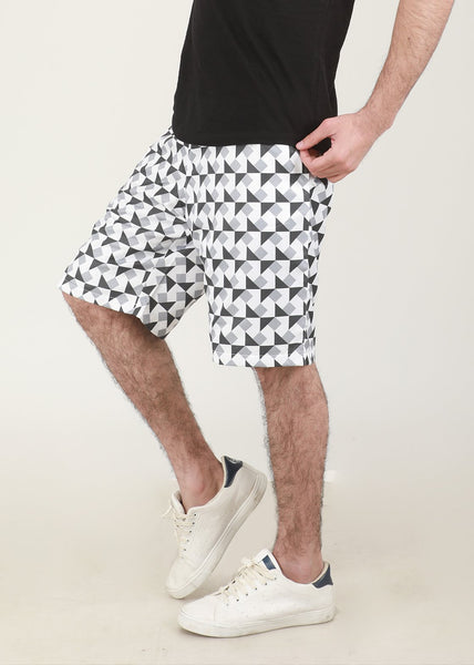 White & Black Trigonal Shorts