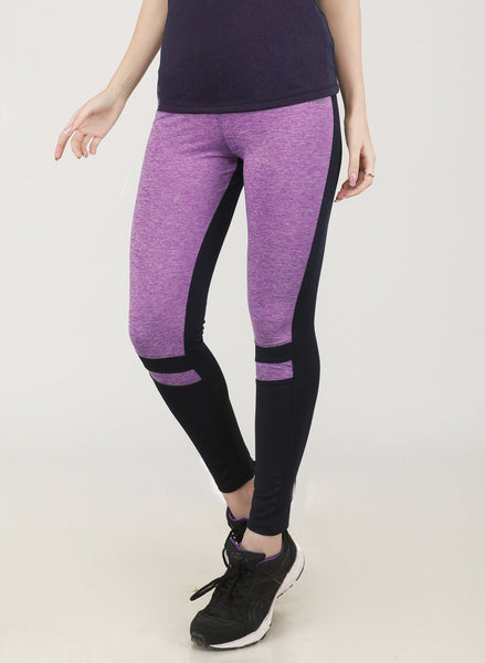Black & Light Purple Texture Tights