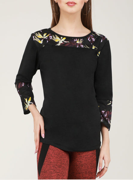 Black Floral Full Sleeve T-Shirt