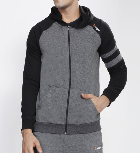 Graphite Grey Hooded Tracksuit with Black Contrast