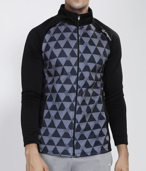 Grey Pyramids Slim Fit Jacket