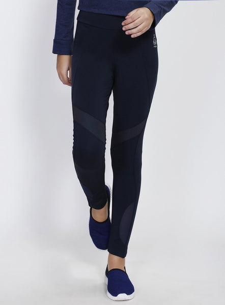 Navy Tights with Mesh Detail