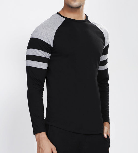 Black Grey ArmBand Full Sleeve T-Shirt - Cotton