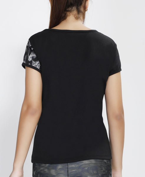 Black Grey Abstract Oblique T-Shirt