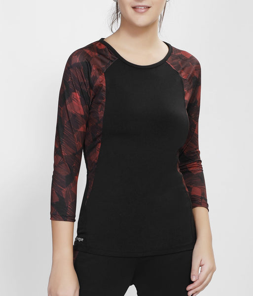 Black Red Quarter Sleeves Top