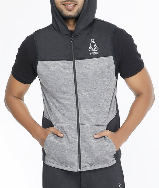 Black Steel Grey Sleeveless Hoodie