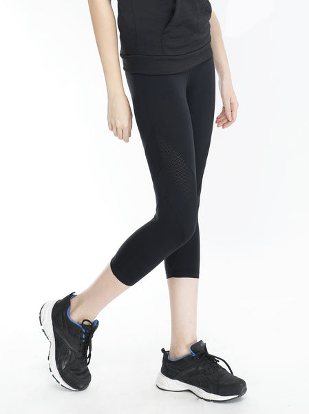 Black Capris with Mesh Detail