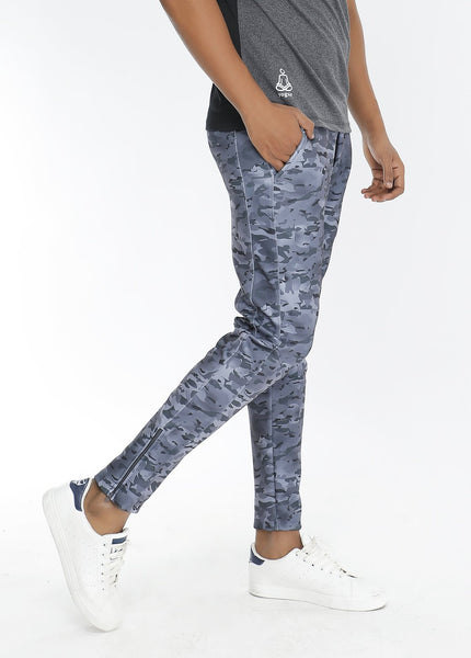 Grey Camouflage Slim-Fit Trackpants