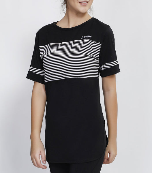 Black White Stripes Long T-Shirt