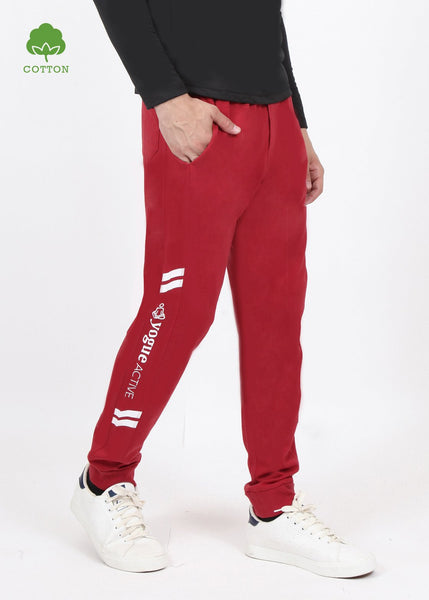 Dark Red Cotton Joggers