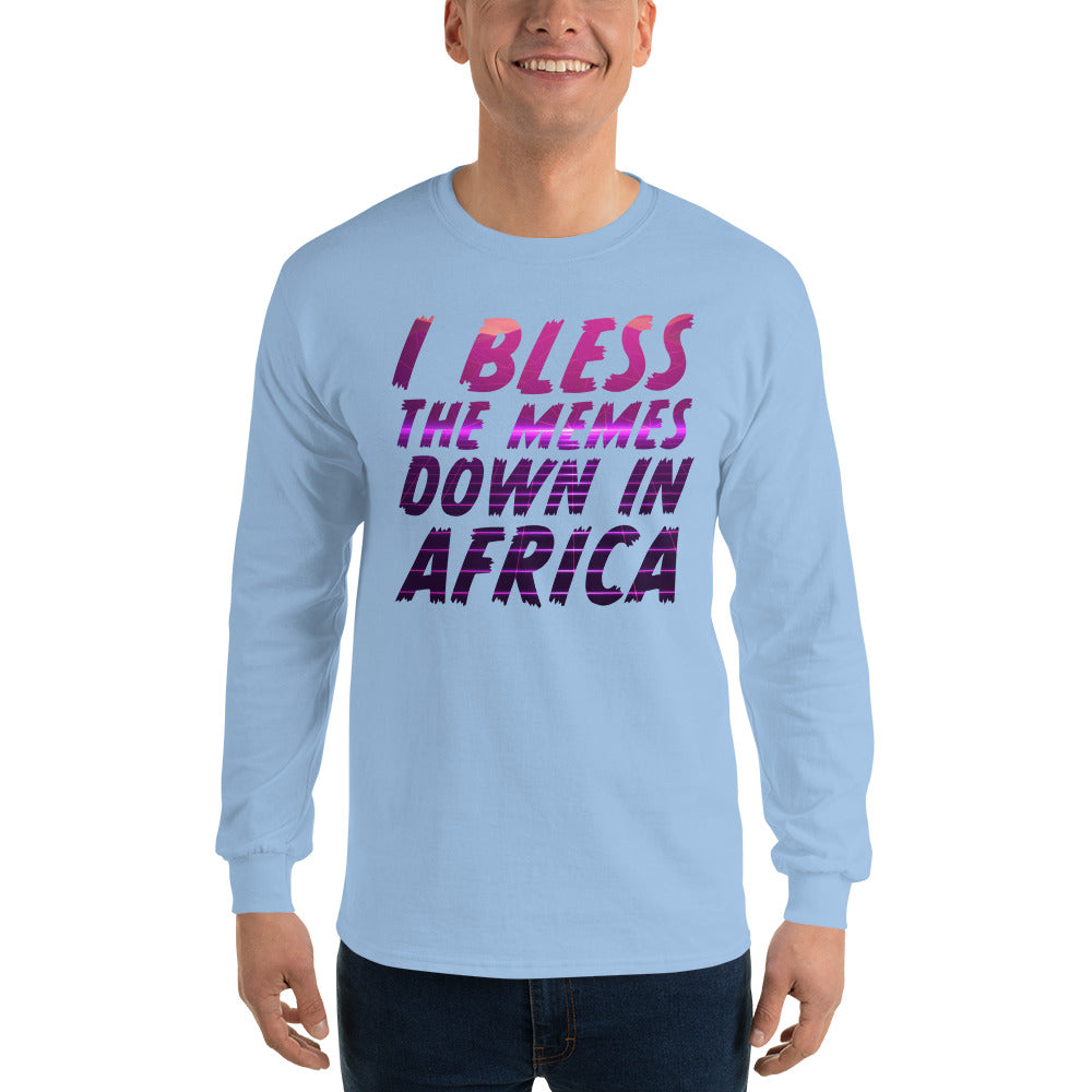 I Bless The Memes Down In Africa White Long Sleeve T-Shirt