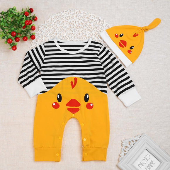 Cute Little Chick Outfit with Cotton Hat