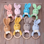 Wooden Baby Bunny Teething Ring