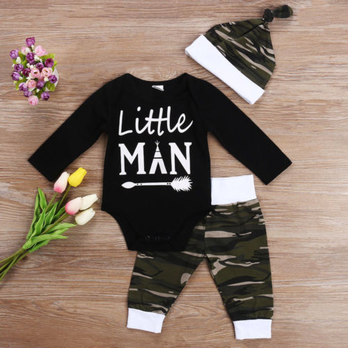 Little Man Camo Baby Outfit- Black