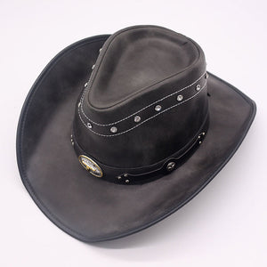 e5d249e7e84 Western Men Women Fake Leather Cowboy Hats Brand Quality Vintage Black  Metal