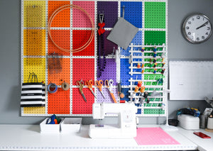 DIY Rainbow Pegboard Sewing Room Makeover