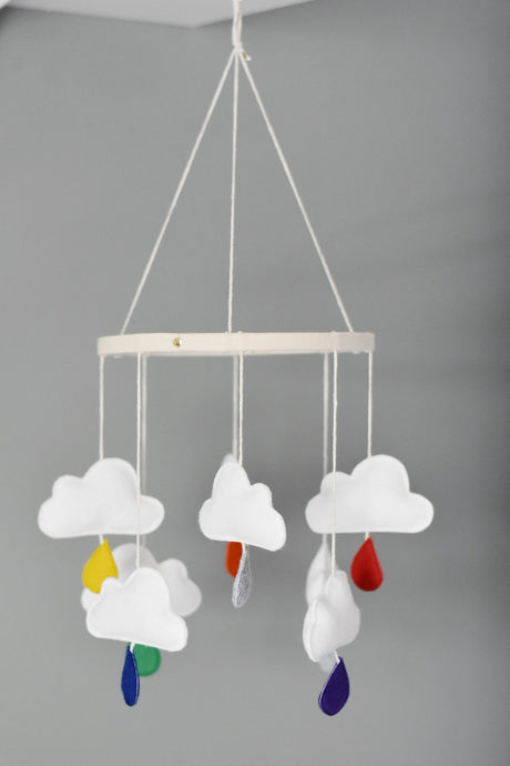 Rainbow Raindrops Cloud Mobile