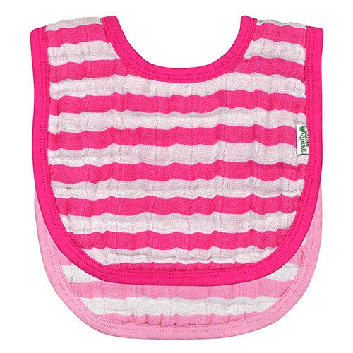 Muslin Bibs Made From Organic Cotton 2pk- Pink (Min.  of 6, multiples of 6)