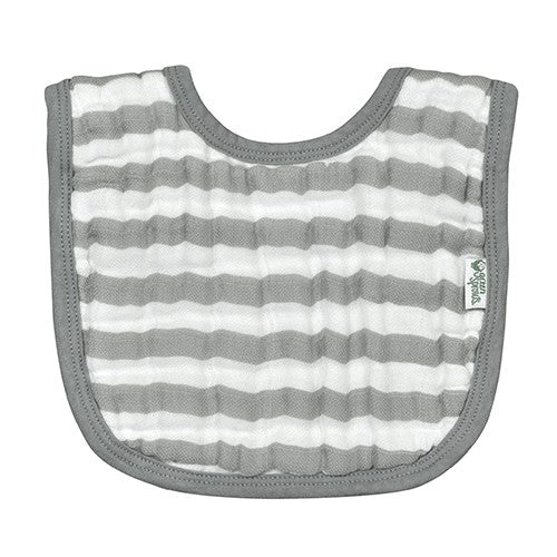 Muslin Bibs Made From Organic Cotton 2pk- Grey/Royal Blue (Min. of 6, multiples of 6)