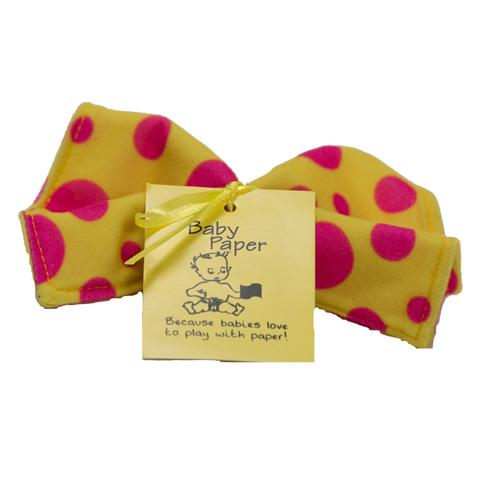 Yellow With Pink Dots Baby Paper (Min. of 6, multiples of 6)