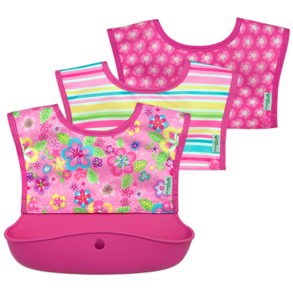 Snap & Go™ Silicone Food-Catcher Bib Pink flower fields (3-In-1 Set of 3 bibs (Min. of 6)