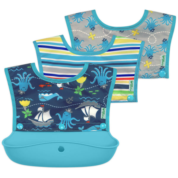 Snap & Go™ Silicone Food-Catcher Bib Aqua Pirate (3-In-1 Set of 3 bibs (Min. of 6)