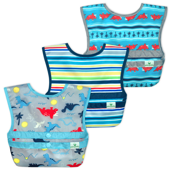 Snap & Go™ Easy-Wear Bibs Aqua Dinosaurs (3 Pack) (Min. of 6)
