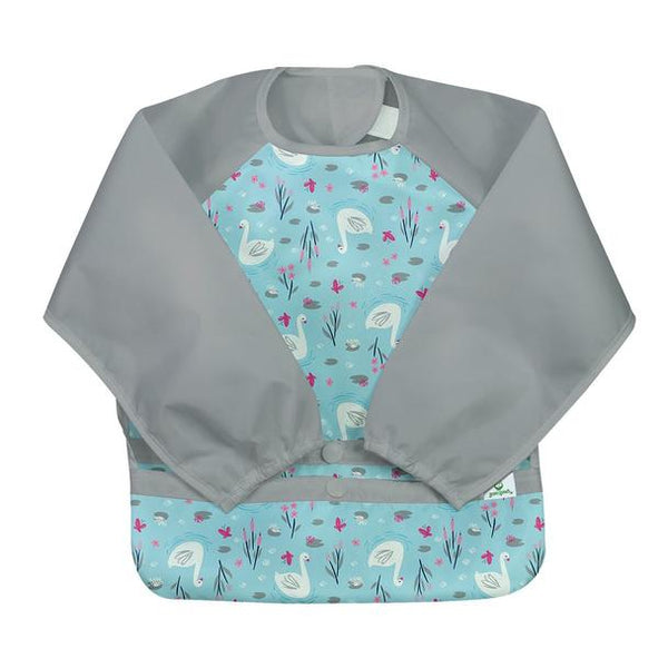 New! Snap & Go™ Easy-wear Long Sleeve Bib-Aqua Swan (Min. of 6, multiples of 6)