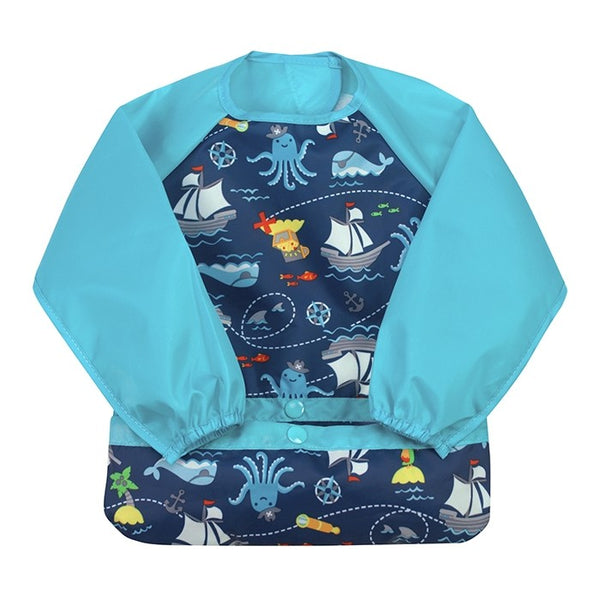 Snap & Go™ Easy-Wear Long Sleeve Bib Aqua Pirates (Min. of 6, multiples of 6)