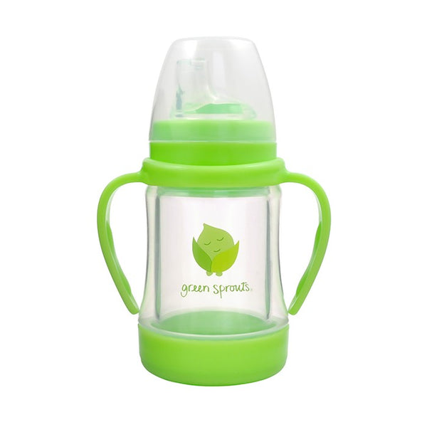 Glass Sip & Straw Cup Green 4oz (Min.of 6, multiples of 6)