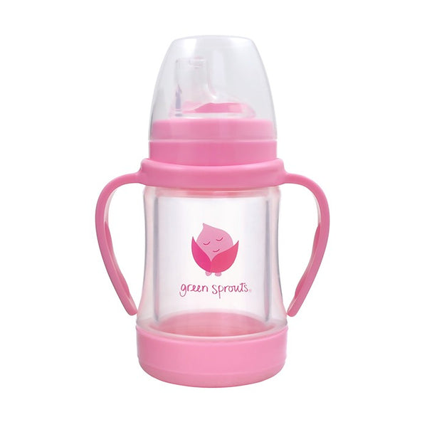Glass Sip & Straw Cup Pink 4oz (Min. of 6)