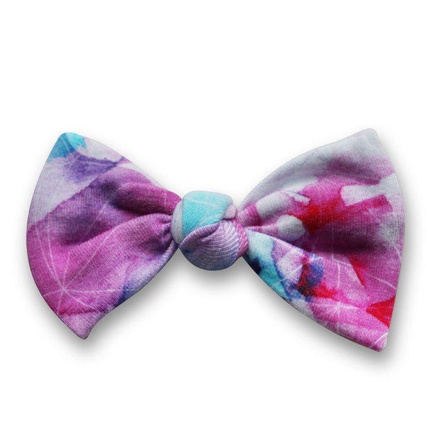 Big Bows on Hair Elastic - Fleur Aquarelle Rose  (Min. of 2 multiples of 2)