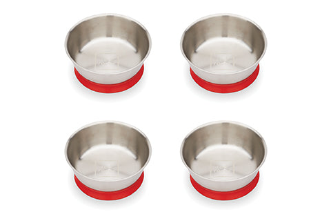 NEW! Red Rover Stainless Steel Bowls with Suction set of 4 ruby Red (Min. of 2 Sets)
