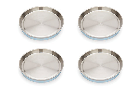 New! Red Rover Stainless Steel Plates with Suction set of 4 Powder Blue (Min. of 2 Sets, multiples of 2)