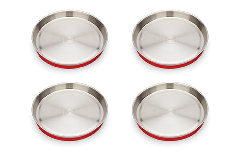 New! Red Rover Stainless Steel Plates with Suction set of 4 Ruby Red (Min. of 2 sets)
