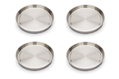 New! Red Rover Stainless Steel Plates with Suction set of 4 Shiitake Grey  (Min. of 2 Sets )