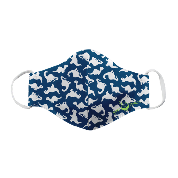Coming Soon! GREENSPROUTS Reusable Face Masks Navy Dino -Child (Min. of 6, multiples of 6)